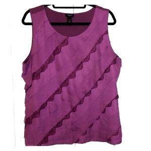 Purple Ann Taylor Ruffle Front Sleeveless Blouse